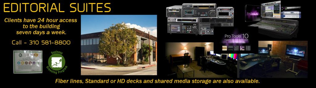 Editorial Suites for post production rental edit equipment, HD SD decks, Media storage and more